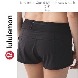 Lululemon 6 Speed Shorts Black Zip Pocket Active